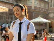 Despite being 35 years old this TV actress appeared with school uniform and school bag!